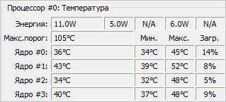 Смотрим температуру процессора в программе Core Temp
