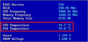 Температура процессора в БИОС 2
