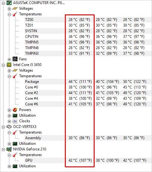 Температура в программе HWMonitor